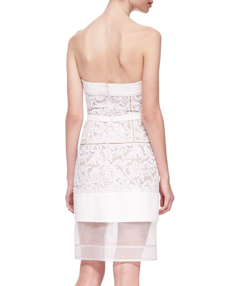Strapless Floral Lace Dress with Sheer Hem, White