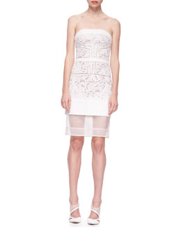 J. Mendel Strapless Floral Lace Dress with Sheer Hem, White