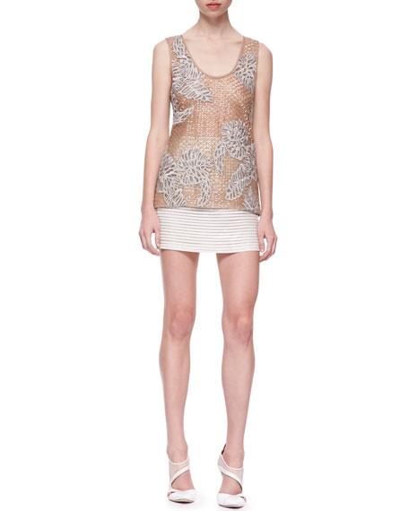 Horizontal-Striped Patent Leather Miniskirt, Ivory
