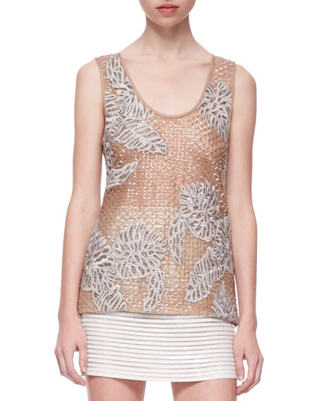 Leaf-Embroidered Sparkling Tank Top, Gold