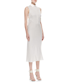 Jason Wu Bias-Cut Silk-Panel Shirtdress, Gray