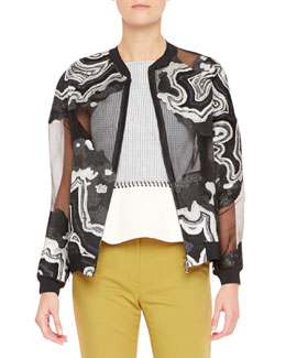 3.1 Phillip Lim Geode Embroidered Chiffon Jacket, Black