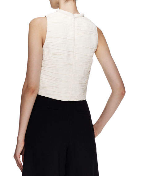 Sleeveless Cropped Plisse Shell