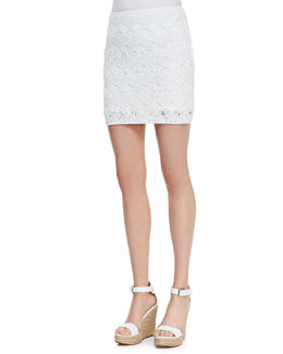 Ralph Lauren Black Label Easy Open-Crochet Short Skirt
