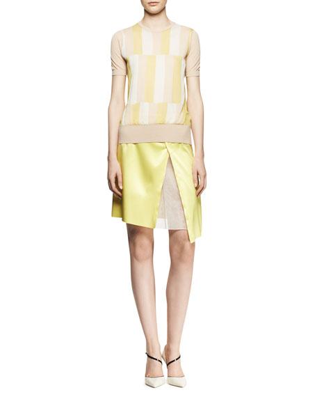 Asymmetric Organza-Inset Skirt