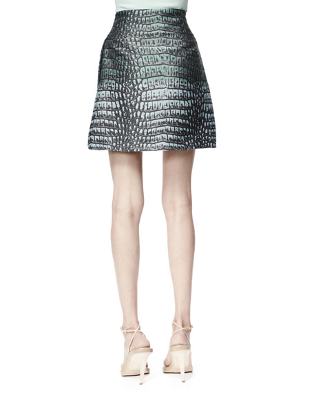 Zip-Front Crocodile Jacquard Skirt, Celadon