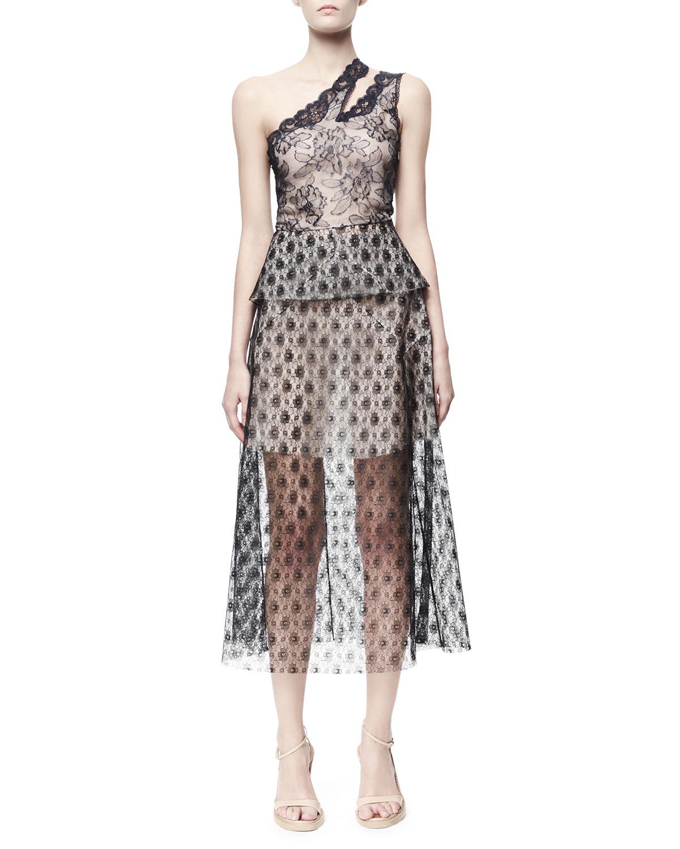 One-Shoulder Rosebud Lace Dress, Black