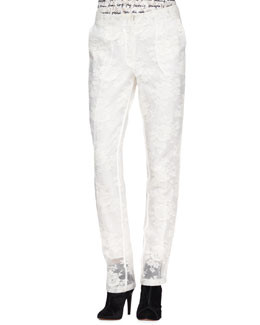 Erdem Zola Tailored Lace Organza Trousers