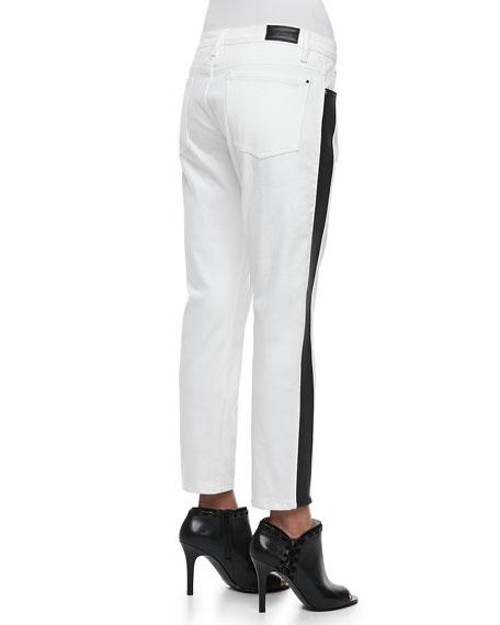 Flex-Band Side-Striped Jeans, White/Black