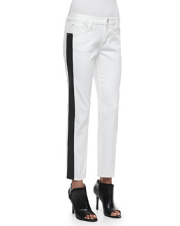 Faith Connexion Flex-Band Side-Striped Jeans, White/Black