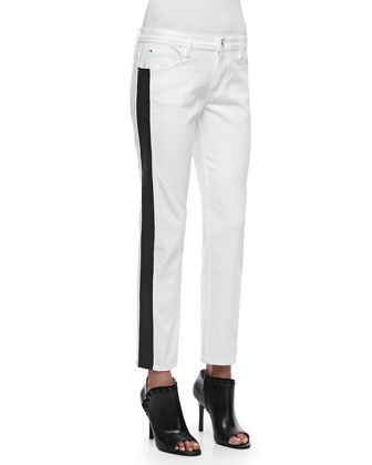 Flex-Band Side-Striped Jeans, White/Black