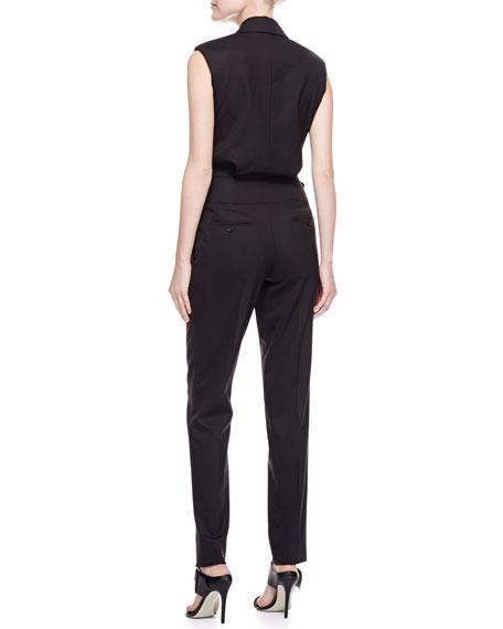 Gabardine Tuxedo Jumpsuit, Black