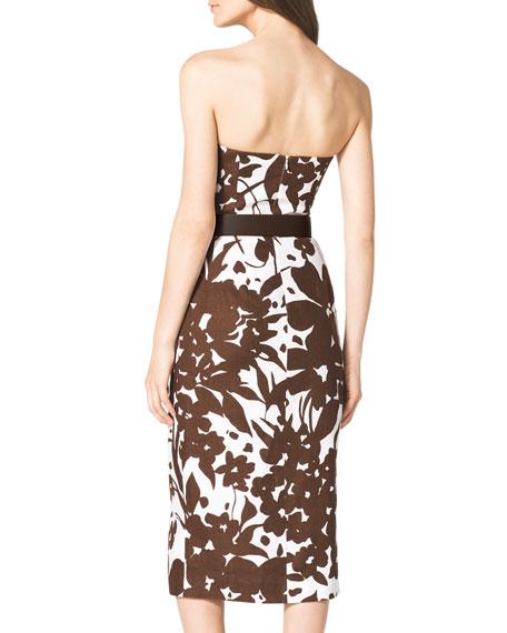 Strapless Cutout Floral-Print Dress