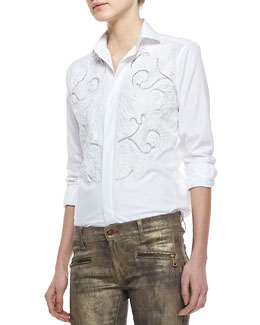 Ralph Lauren Black Label Luxury Broadcloth Embroidered Shirt