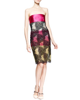 Roland Mouret Strapless Poinsettia Lace Dress