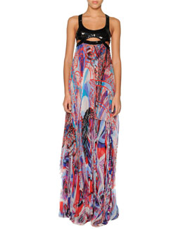 Emilio Pucci Harness-Top Maxi Dress with Pleated Chiffon Skirt
