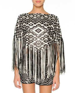 Emilio Pucci Woven Leather Poncho with Fringe, Black/White
