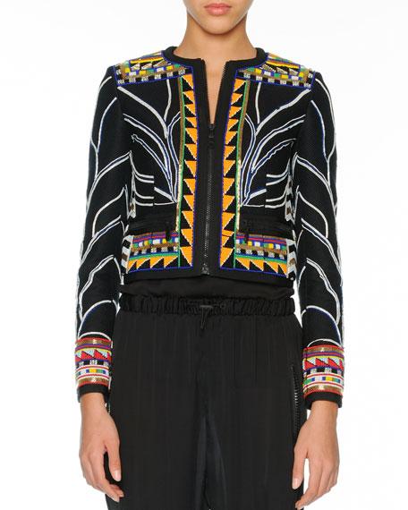 Tribal Beaded Zip Cardigan, Black/Multi