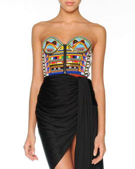 Tribal Beaded Bustier Dress with Draped Skirt