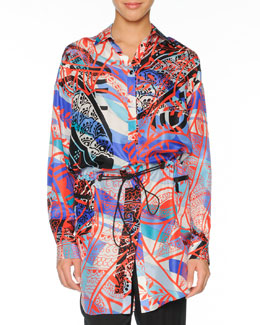 Emilio Pucci Printed Silk Topper with Drawstring