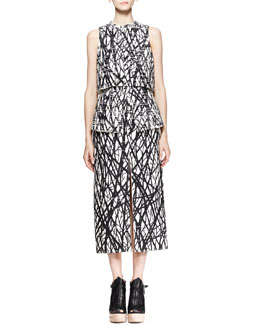 Proenza Schouler Printed Layered Peplum Dress