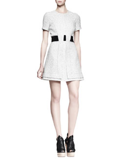 Proenza Schouler Tweed Contrast-Waist Dress