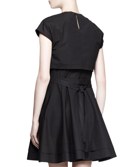 Illusion Crop-Top Tie-Waist Dress