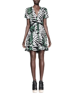 Proenza Schouler Printed V-Neck Dress, Green/Black