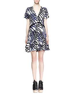 Proenza Schouler Printed V-Neck Dress, Blue/Black