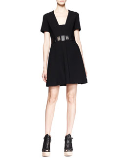 Proenza Schouler Short-Sleeve Turn-Lock-Waist Dress