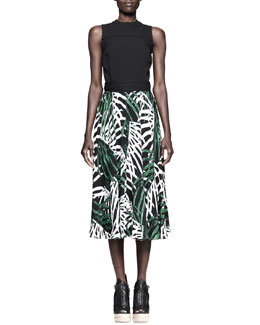 Proenza Schouler Printed/Solid Silk Dress
