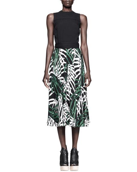 Printed/Solid Silk Dress