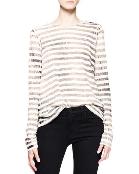 Long-Sleeve Faded Striped T-Shirt