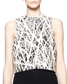 Proenza Schouler Sleeveless Branch-Print Crop Top