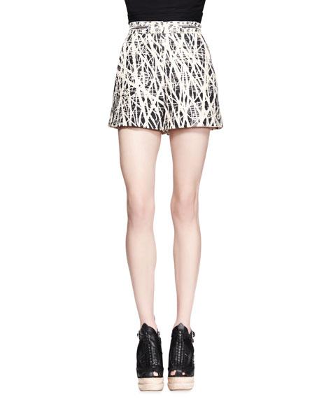 Branch-Print High-Waist Shorts