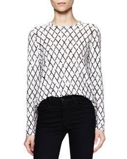 Proenza Schouler Long-Sleeve Printed Cotton Top