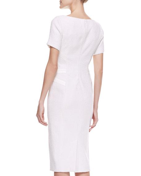 Tweed Satin Corset Dress, Ivory