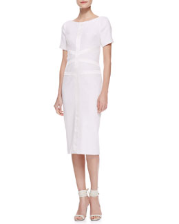 Jason Wu Tweed Satin Corset Dress, Ivory