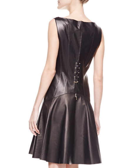 Leather Flounce Dress with Corset, Black