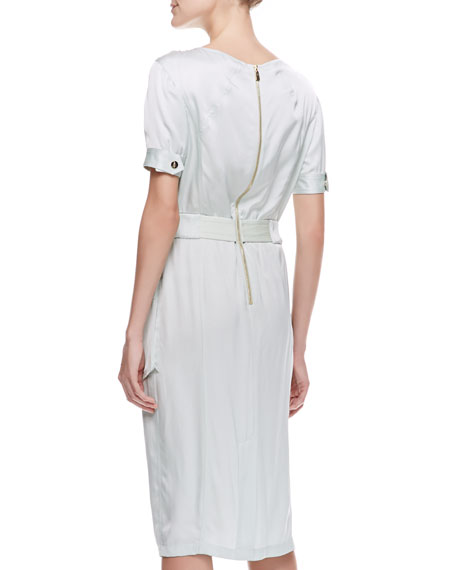 Short-Sleeve Satin Cargo Dress, Pale Sage
