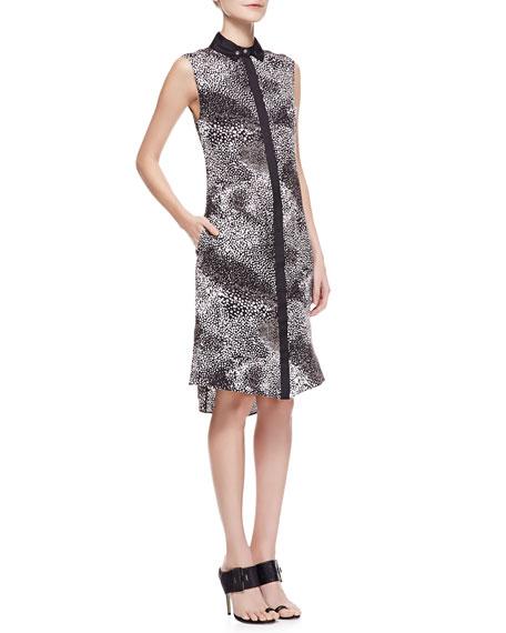Sleeveless Printed Silk Shirtdress, Black