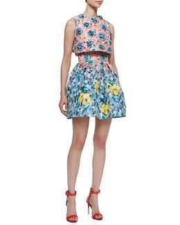 Mary Katrantzou Silver Floss Bejeweled Bow Cropped Top, Orange/Aqua