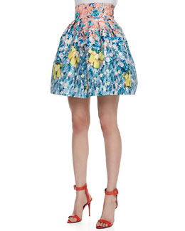 Mary Katrantzou Algernon Silver Floss High Waist Skirt, Orange/Aqua
