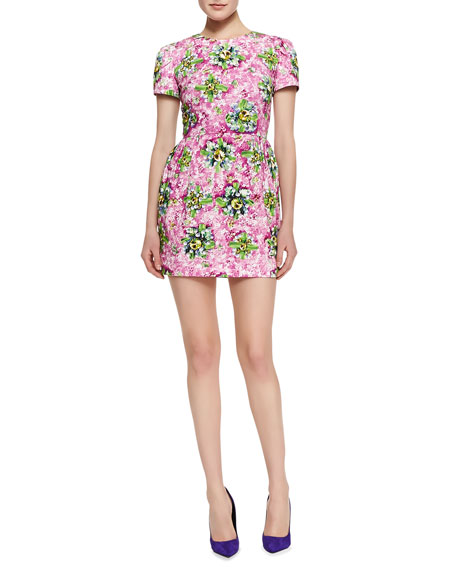 Liv Short-Sleeve Floral & Jewel-Print Dress, Pink