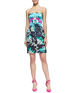 Mary Katrantzou Strapless Jewel-Print Short Cocktail Dress