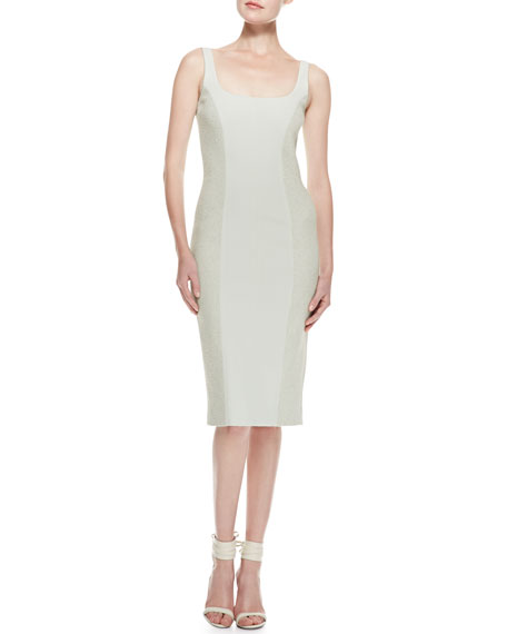 Tweed & Crepe Sheath Dress, Pale Sage