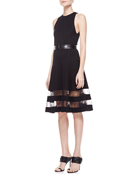 Belted Ponte Flounce Dress with Lace Stripes, Black