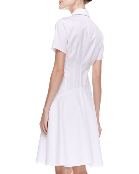 Two-Collar Cotton Poplin Flounce Shirtdress, Ivory