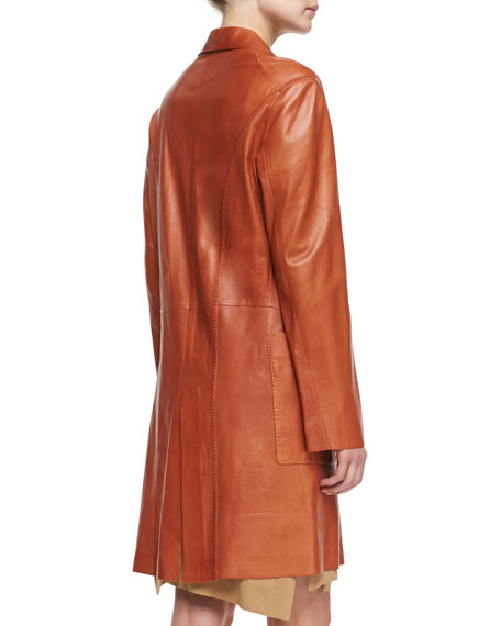 Long Leather Topper, Terracotta