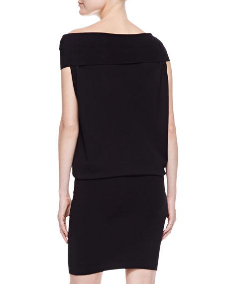 Off-the-Shoulder Twisted-Neck Dress, Black